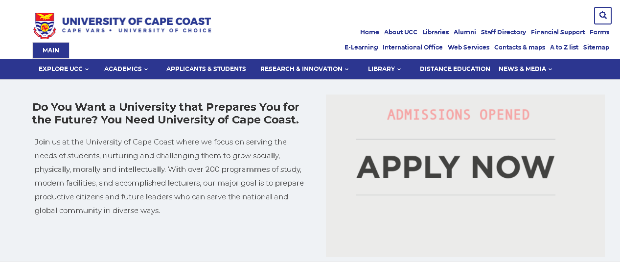 University of Cape Coast student sign-in portal