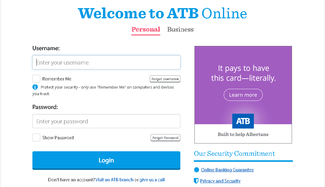 ATB Personal login guide