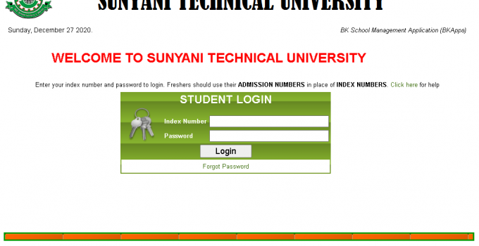 Sunyani Technical University - STU Student login portal